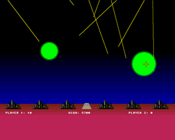 Missile Command Screenshot Amiga Public Domain